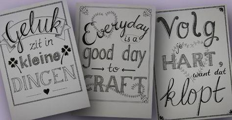 Wil je ook onze workshop Handlettering en Brushlettering volgen? Hier zie je wat er tijdens een eerdere cursus gemaakt is.