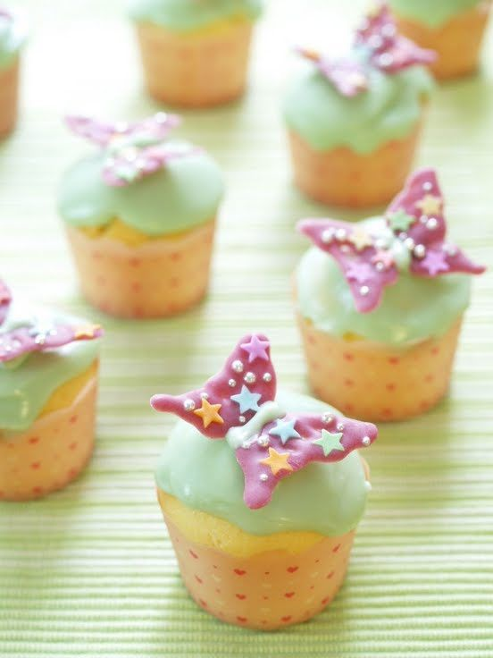 "Spring Coloured Butterfly Cheese Cupcakes! ""These are cute pastel-coloured cupcakes decorated with butterflies with a refreshing cream cheese that makes them scrumptious. There's a video to accompany the recipe.""  @allthecooks #recipe"