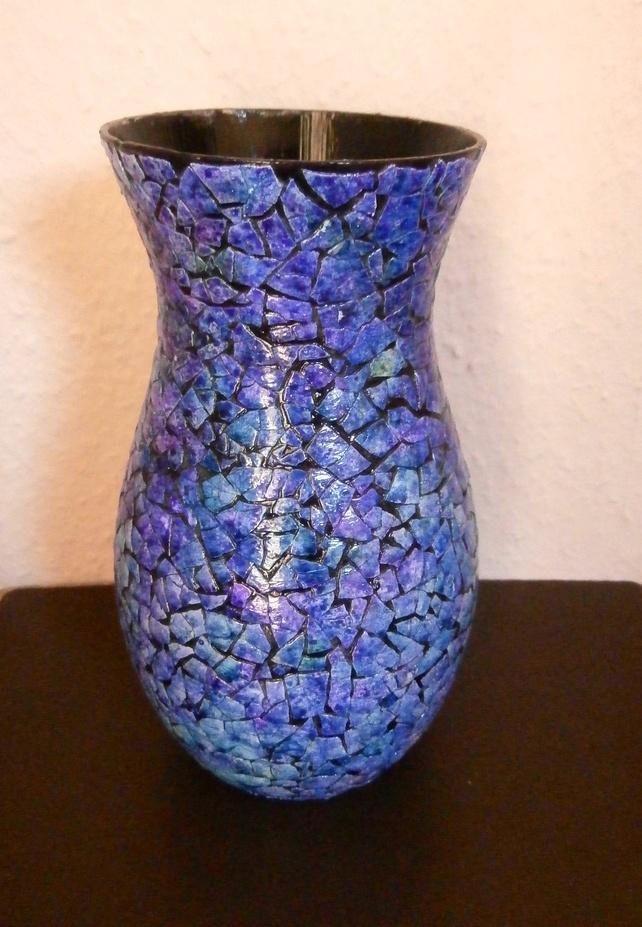 Vase of Eggshell Mosaic in Purple £17.50