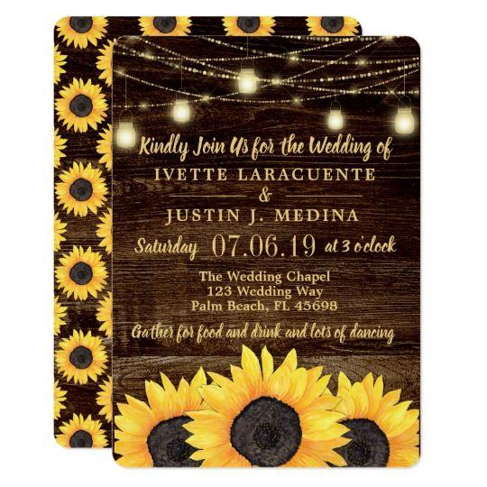 Rustic Country Wedding Mason Jar Lights Invitation