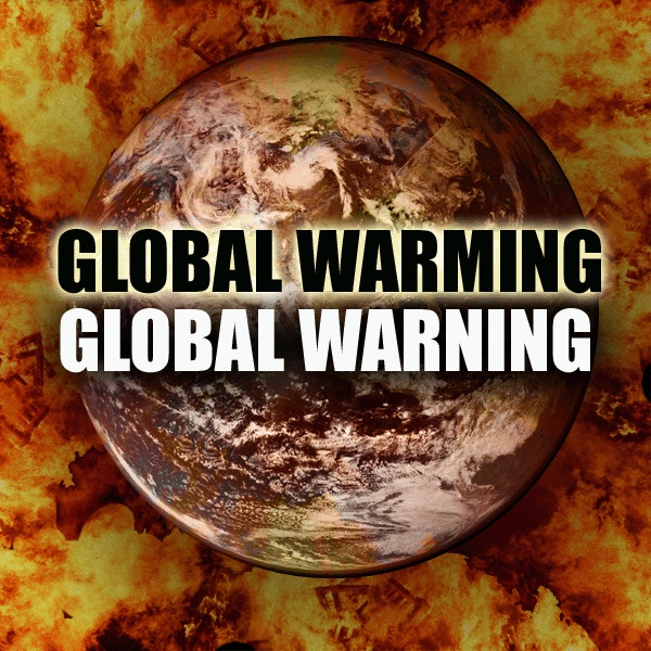 Global warming a global warning. eye catching slogan poster.