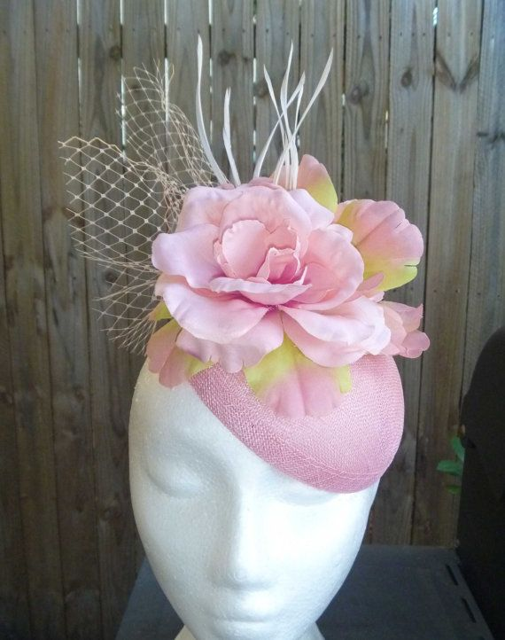 Pale pink sinamay fascinator pink flower and netting by WhiteBea, $65.00