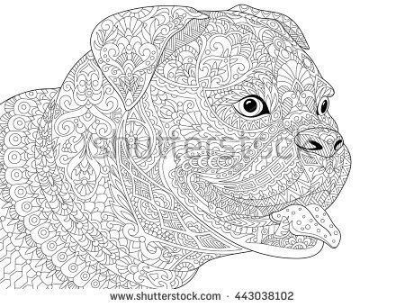 Zentangle Stylized Cartoon German Boxer Dog Breed Isolated On White Background Hand Drawn Sketch For BreedColoring Book