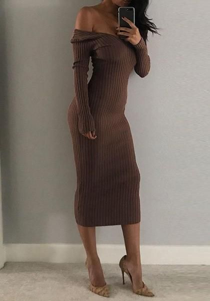 3278f9d23db6 Khaki Striped Off-shoulder Boat Neck Long Sleeve Fashion Slim Maxi Dress