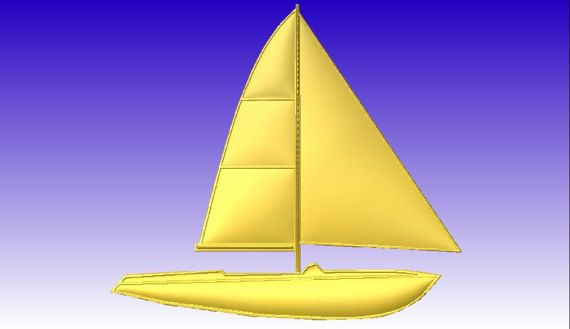 Small Sailboat Vector Relief Model in stl file format for download  only