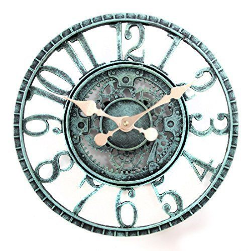 Lilyshome Indoor or Outdoor Wall Clock Steampunk Gear Cog Design, 12-Inch Poly-resin, Pewter  #12Inch #Clock #Design #gear #Indoor #Lilyshome #Outdoor #Pewter #Polyresin #RusticWallClock #Steampunk #Wall The Rustic Clock