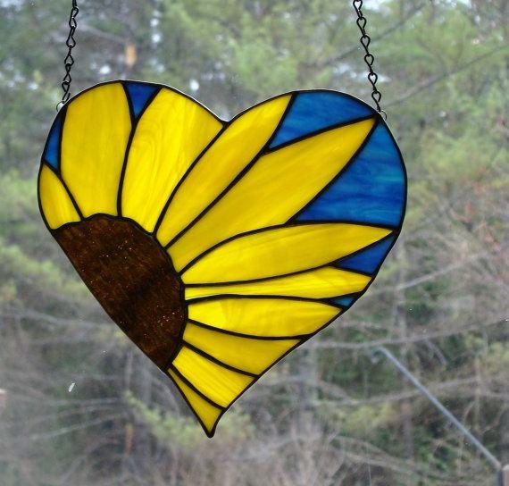 Sunflower Heart Stained Glass Panel by TeresasGlassStudio on Etsy