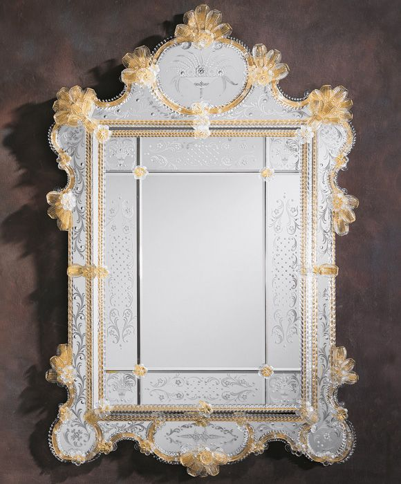 Simple Elegant Venetian mirror framed in hand etched beveled glass and has an elaborate gold glass twisted trim This large Venetian mirror is hand crafted in Italy In 2018 - Model Of venetian glass mirror In 2019