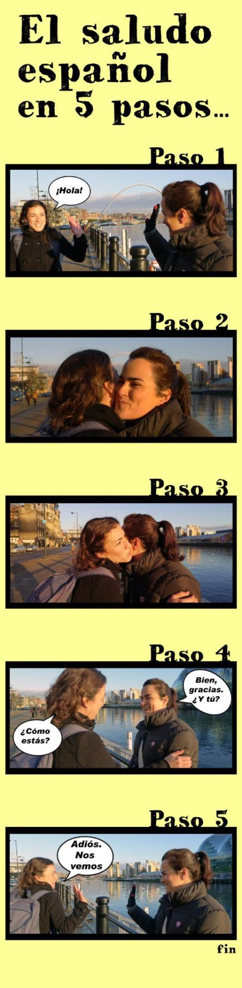What would you do if you meet a Spanish friend? Here we show you the easy steps that you will have to follow. Are you ready?
