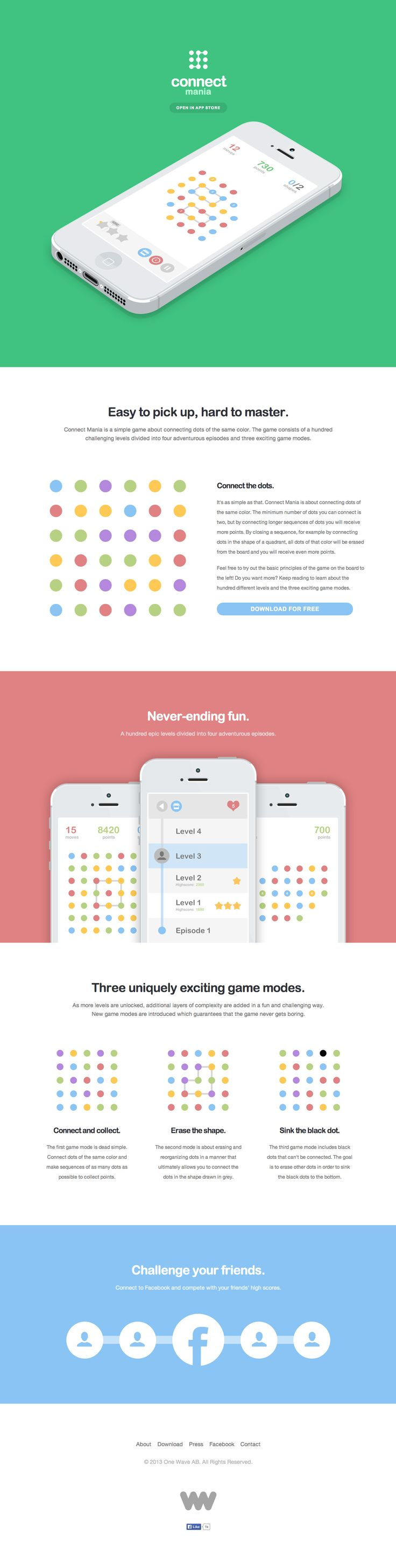 Clean landing page with a colorful flat design and clear screenshots of 'Connect Mania' - a dot joining iPhone app game.