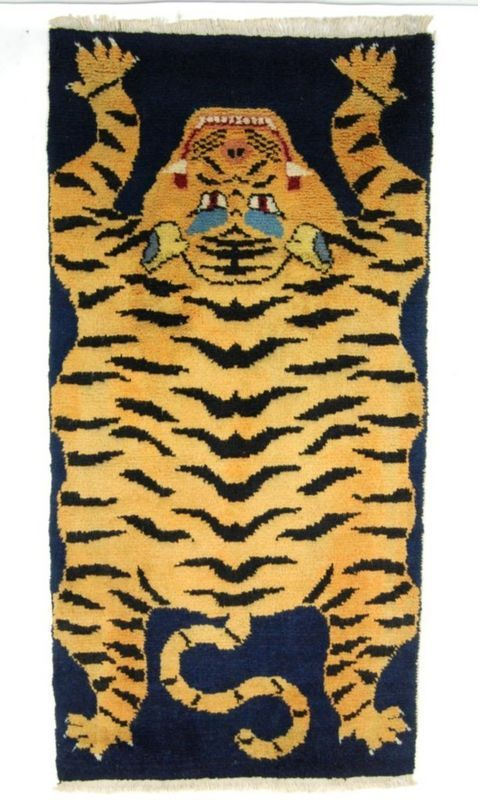 Wool stylized tiger rug. $275