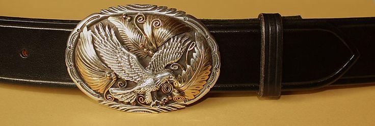 Ceinture en cuir pleine fleur noir pour boucles de ceintures Western USA ou boucles Navajo