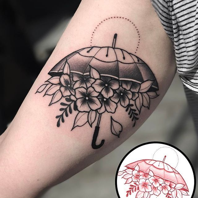 Lovely little black and grey umbrella by Matthew @ Dublin Ink #tattoo #art#Dublin #Ireland