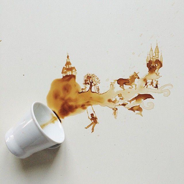 L'italienne Giulia Bernardelli utilise des taches de café et de chocolat qu'elle transforme en dessins.