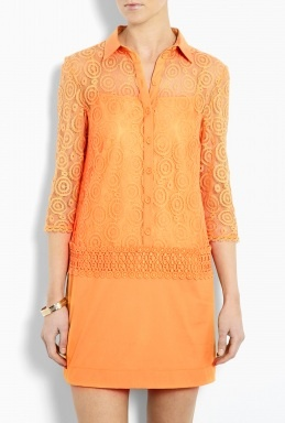 Crochet Lace Shirt Dress by Philosophy di Alberta Ferretti