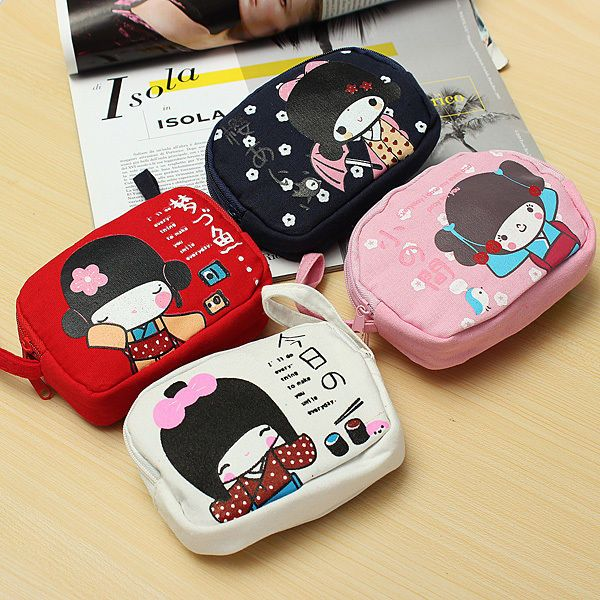 Cute Japanese Girl Print Canvas Double Zipper Purse Coin Bag Phone Bag Wallet