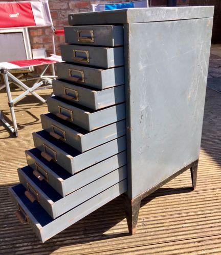 Vintage-Industrial-Metal-10-Drawer-Filing-Cabinet