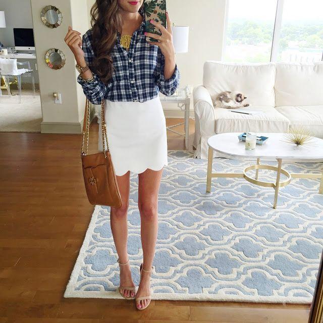 White scalloped skirt + plaid top