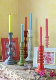 Wooden painted candle holders from £12.50 berryred.co.uk from Berry Red