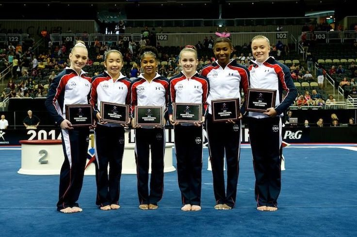 Your 2014 Junior National Team. Including Bailie Key who couldn't compete due to an elbow injury. Megan Skaggs, Alexis Vasquez, Jordan Chiles, Norah Flatley, Nia Dennis, and Jazmyn Foberg. Hoping Ragan Smith also makes that cut as she was in 7th place all around by only half a tenth.