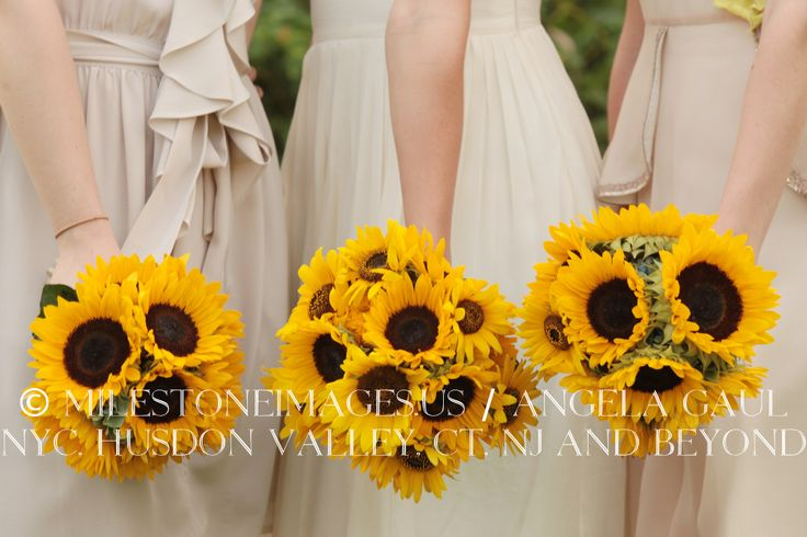 Sunflower bridesmaid bouquets real wedding bouquets and for Sunflower dresses for wedding