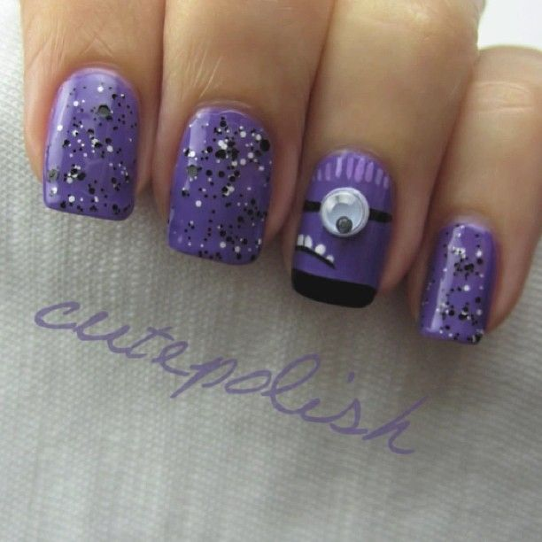 Evil Purple Minion nail art.. Going to do this! Yellow minion on one hand and purple on the other :)