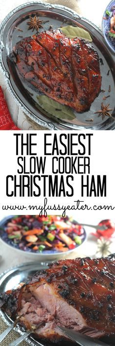 The easiest slow cooker Christmas ham, lightly spiced and served with a refreshing red cabbage salad