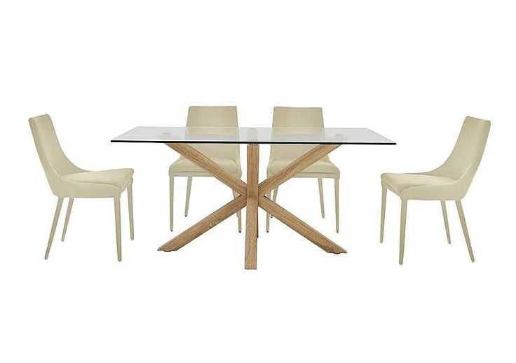 Furniture Village Evoque 160cm Dining Table and 4 Vista Chairs Ultra-modern dining set with glass topped dining table Table with rectangular tempered glass top seats up to 6 Starburst design base is steel with a natural wood finish ]]> http://www.MightGet.com/january-2017-11/furniture-village-evoque-160cm-dining-table-and-4-vista-chairs.asp