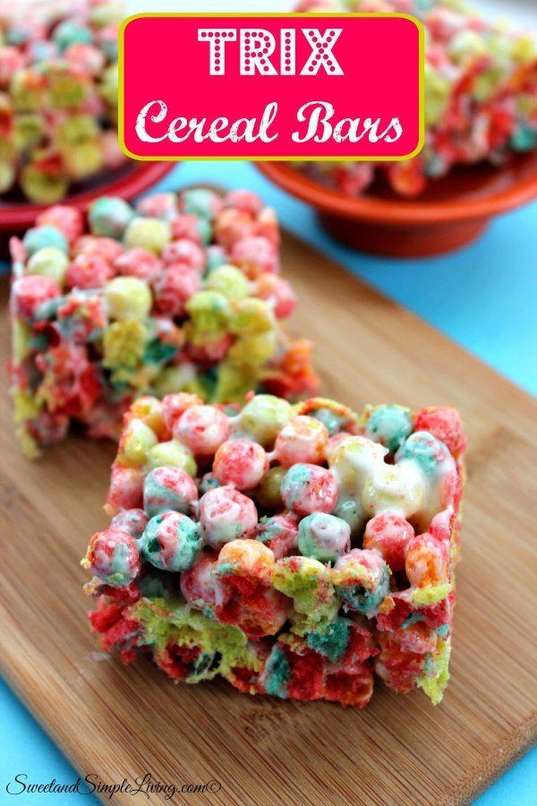 These Trix Cereal Bars are so bright, colorful and easy to make! It makes me almost not want to eat them because they are so pretty...I said almost.