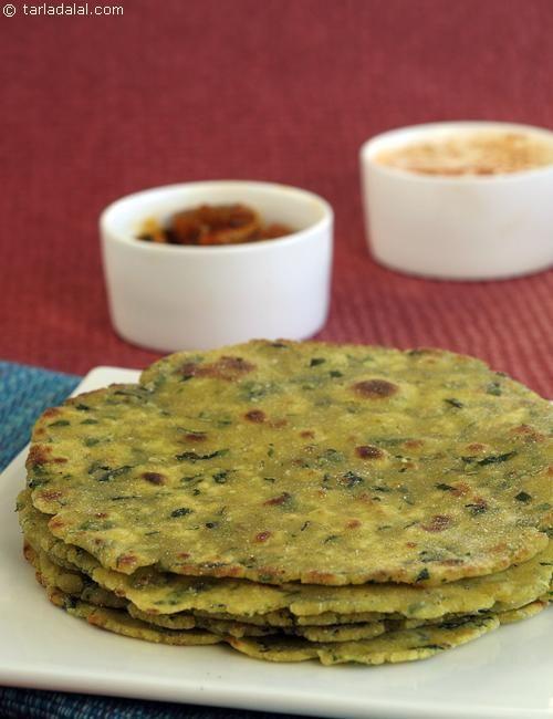 Hariyali Paratha ( Gluten Free Recipe) recipe | by Tarla Dalal | Tarladalal.com | #38604