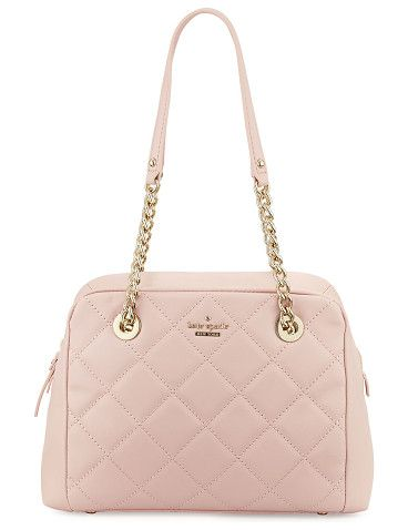 """emerson place dewy quilted shoulder bag by Kate Spade New York. kate spade new york quilted leather shoulder bag. Light golden hardware. Chain and leather top handles, 9.8"""" drop. Zi..."""