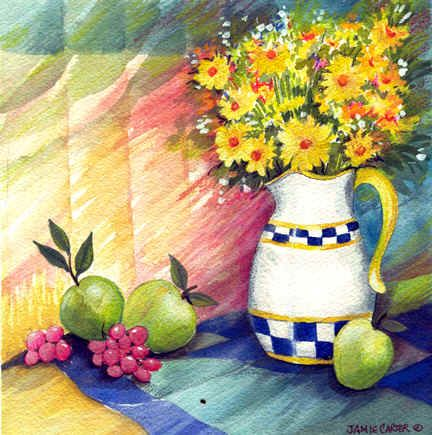 """Checkered Pitcher""National Known Painters, Kitchens Ideas, Jamie Carter, Landscapes Imagery, Checkered Pitcher, Holiday Image"