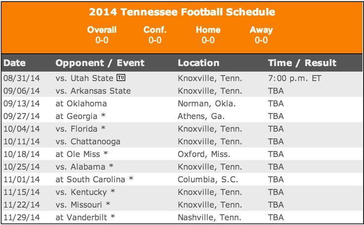 2014 Tennessee Football Schedule