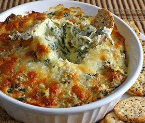Hot spinish and artichoke dip...my kid could eat her weight in this stuff!