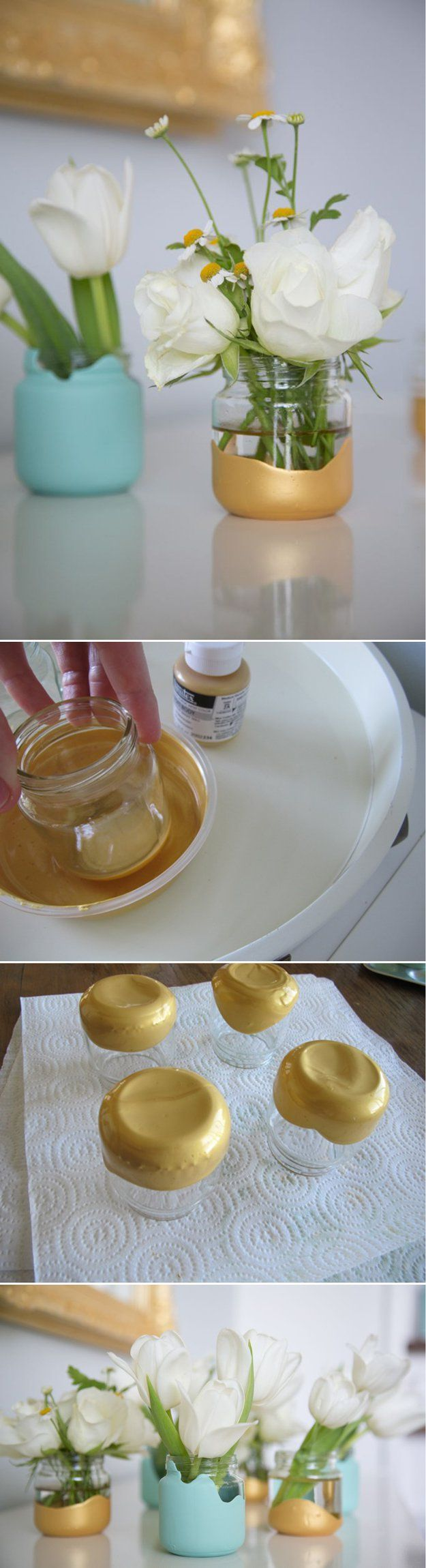 Paint Dipped Baby Food Jar Vases - 23 Clever DIY Uses of Baby Food Jars | Upcycle And Repurpose Ideas at http://diyready.com/diy-uses-of-baby-food-jars/