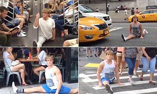 Logan Paul films himself dropping into the splits in Manhattan | Daily Mail Online