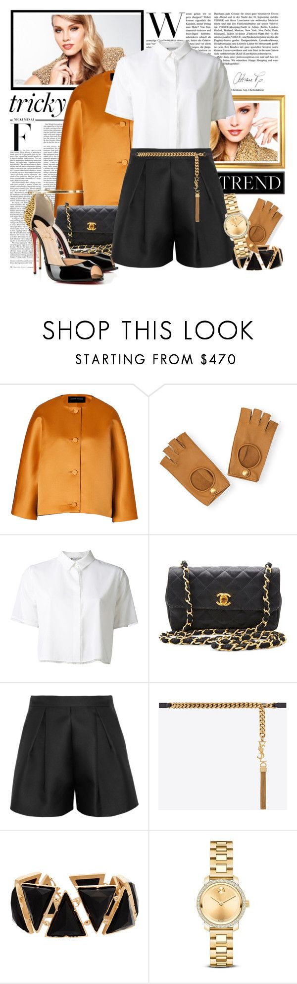 """""""Tricky Trend: Suit With Shorts"""" by fashionicious ❤ liked on Polyvore featuring Nicki Minaj, Jonathan Saunders, Hermès, T By Alexander Wang, Chanel, Giambattista Valli, Yves Saint Laurent, Christian Louboutin, Irene Neuwirth and Movado"""