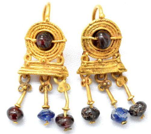 Greek Gold, Garnet and Glass Bead Earrings, 4th Century BC