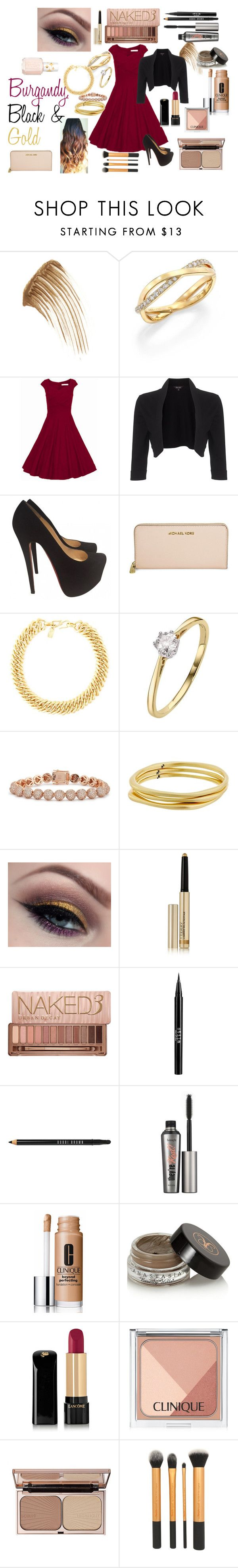 """""""Burgandy, Black & Gold"""" by treasurechestdesigns on Polyvore featuring Anastasia Beverly Hills, De Beers, Phase Eight, Christian Louboutin, Michael Kors, Yves Saint Laurent, Eddie Borgo, Karen Kane, By Terry and Urban Decay"""