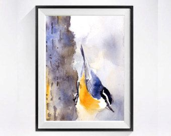 Seagull painting bird art bird painting watercolor by LaBerge