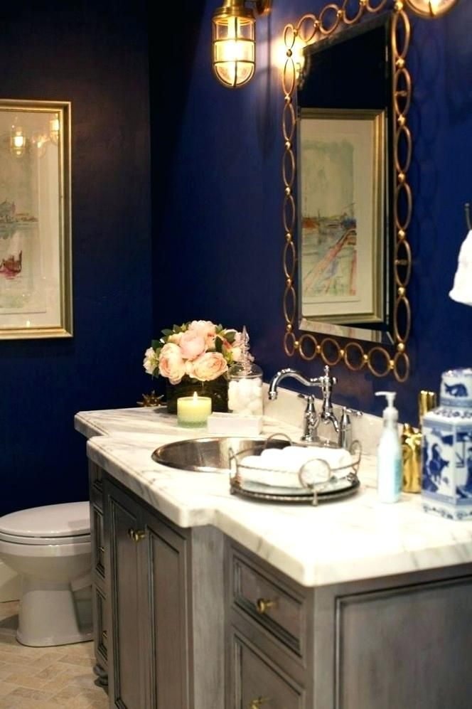 Blue And Gold Bathroom Accessories Blue Bathroom Decor Bathroom