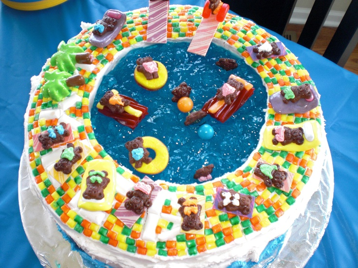 Teddy Grahams Swimming Pool Cake Party Cakes Pinterest Swimming Pool Cakes Cake Make