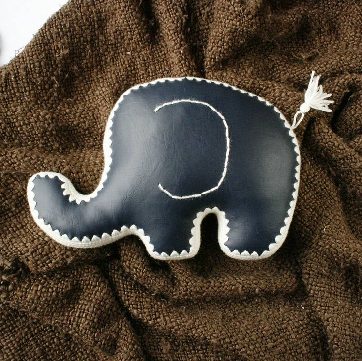 Faux leather elephant pillow crochet knit vegan leather diy