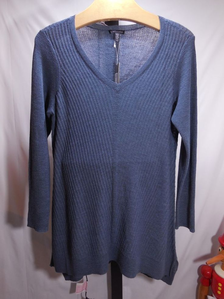 MISSES BLUE WASHABLE WOOL SHADOW STRIPE V NECK TUNIC EILEEN FISHER L $238 #EileenFisher #VNeck
