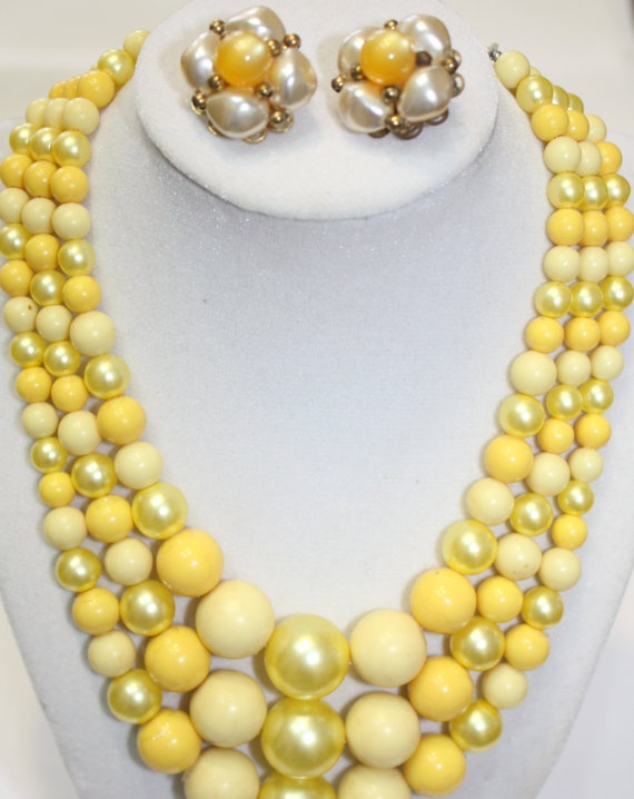 Shoply.com -Triple Stranded Japan Necklace with earrings, Butter, Lemon, Sunshine Yellows. Earrings Moonstone and Pearlized Beads.. Only C$40.00