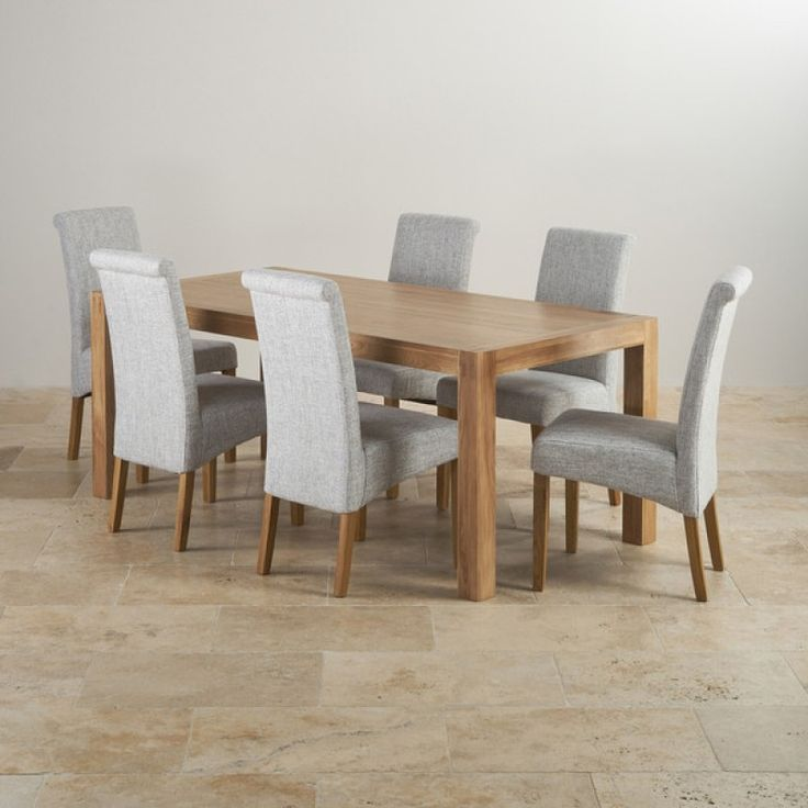 Alto Natural Real Oak Dining Set   6ft Table With 6 Scroll Back Plain Grey  Fabric