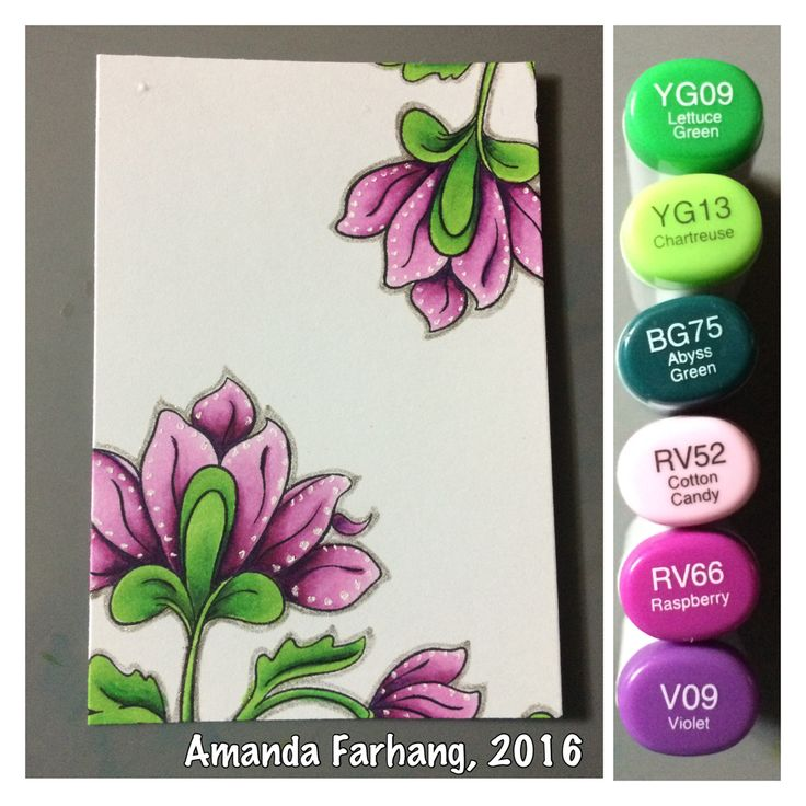 "Colored by Amanda Farhang. These flowers are from an Altenew set called ""Persian Motifs"". Stamped in MFT stamps black licorice hybrid ink and colored with copic sketch markers."