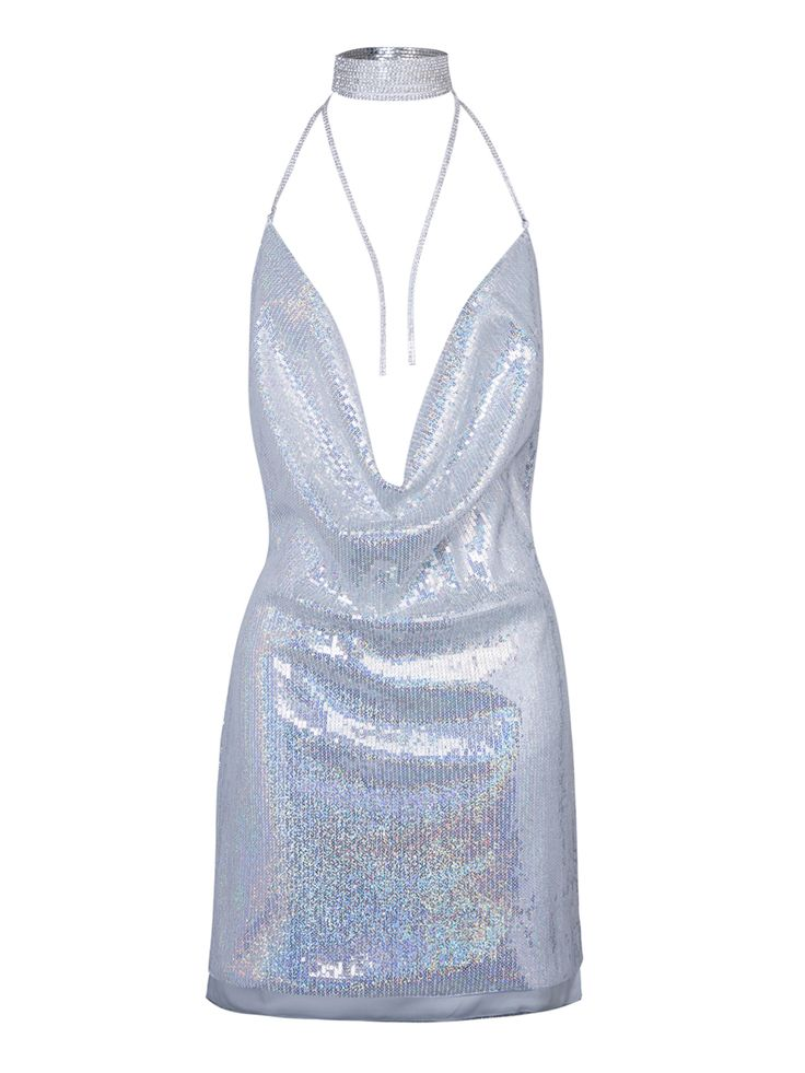 Silver Cowl Front Open Back Split Side Sequined Bodycon Dress