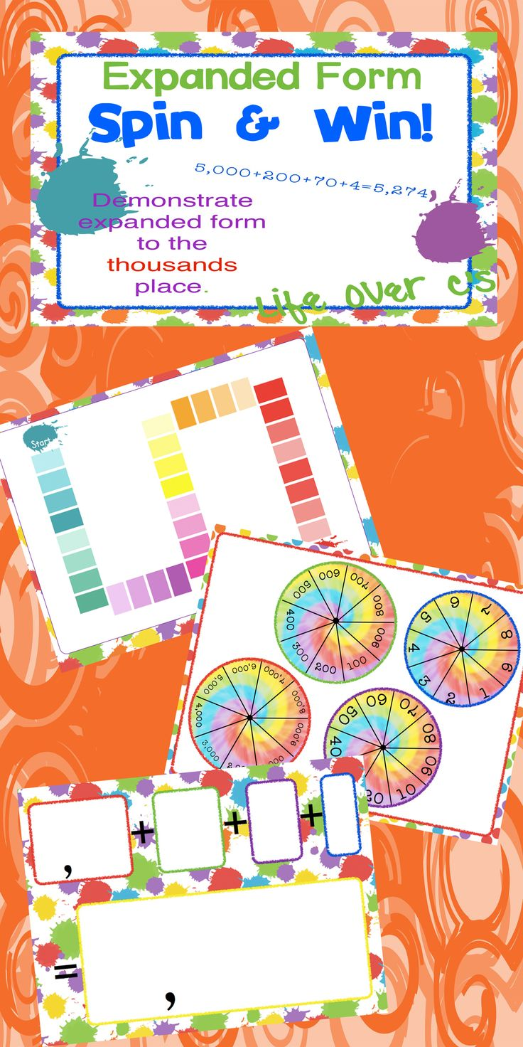 FREE! Students will spin their way to learning about expanded and standard forms of numbers. This is a fun, interactive way to learn about place value to the thousands place. http://www.teacherspayteachers.com/Store/Life-Over-Cs