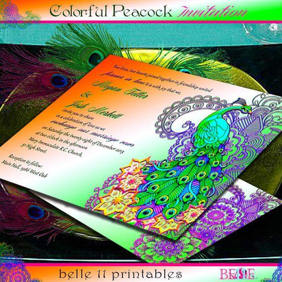 Printable Wedding Invitation, FREE RSVP, Indian Wedding